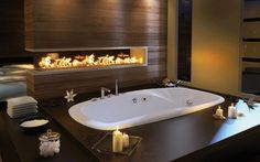 hot tub in master suite with fireplace Website for this image  stainless steel - design ideas and pictures - Tagged - Page 5 on Interior ...  beinteriordecorator.com  Full-size image  588 × 367 (Same size), 49KB  Search by image  Type:	JPG  Images may be subject to copyright.