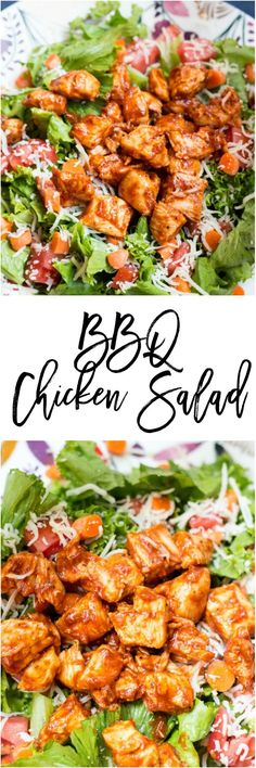 BBQ Chicken Salad - BBQ Chicken Salad - This recipe can be on your table in 15 minutes and won't taste like it. It's only 7 SmartPoints on Weight Watchers and is filling enough to last you all afternoon. Salade Healthy, Healthy Salad Recipes, Lunch Recipes, Healthy Snacks, Dinner Recipes, Healthy Eating, Cooking Recipes, Bbq Chicken Salad, Barbecue Chicken