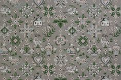Rosie's Vintage Wallpaper - Folk Art Gray Vintage Wallpaper, $95.00 (http://www.rosiesvintagewallpaper.com/folk-art-gray-vintage-wallpaper/)