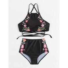 Shop Calico Print Cross Back High Waist Bikini Set online. SheIn offers Calico Print Cross Back High Waist Bikini Set & more to fit your fashionable needs. Halter Top Swimsuits, Cute Swimsuits, Women Swimsuits, Bikini Dos Nu, Bandeau Bikini, Bikini Swimwear, Women's Bikinis, Navy Bikini, Bikini Beach