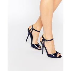 Little Mistress Tia Cracked Effect Heeled Sandals (£36) ❤ liked on Polyvore featuring shoes, sandals, navy, heeled sandals, navy blue shoes, navy shoes, high heel stilettos and navy blue heeled sandals