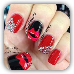 Kisses and bling ~red hot nail design~ so cute~ | More awesome nails here --> http://www.pinterest.com/thevioletvixen/bold-nails/