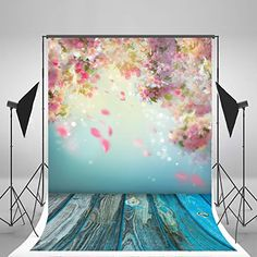 5x7ft(150x220cm) Colorful Flowers Photographic Background Wood Floor Backdrops Props Natural Scenery Fantasy Stutio Backdrop for Children