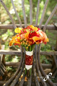 Red and orange fall bouquet.