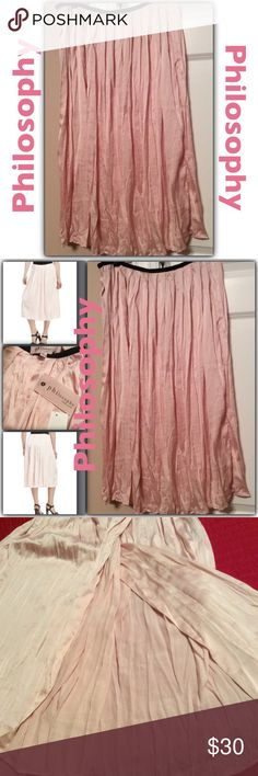 NWT Philosophy Pink Pleated Midi Skirt NWT Philosophy Pink Pleated Midi Skirt. Side zipper. Black waist band. A side opening( See 4th Photo) Very Beautiful Skirt. Philosophy Skirts Midi