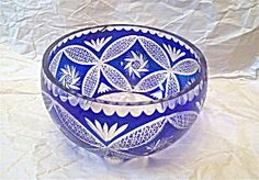 Blue To Clear Cut Crystal Large Bowl
