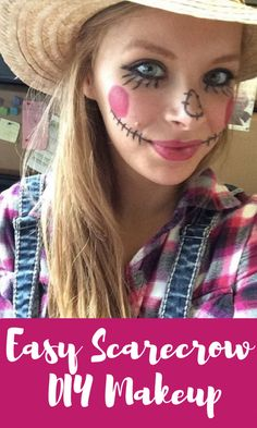 Try this easy, DIY Scarecrow makeup look for a quick Halloween Costume that's office-friendly and inexpensive. Try this easy, DIY Scarecrow makeup look for a quick Halloween Costume that's office-friendly and inexpensive. Diy Scarecrow Costume, Scarecrow Halloween Makeup, Halloween Costumes Scarecrow, Scarecrow Face, Halloween Makeup Looks, Halloween Diy, Quick Easy Halloween Costumes, Halloween 2020, Pretty Halloween