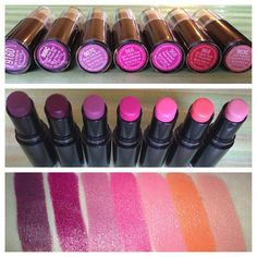 Wet n wild lipsticks, amazing color stay and despite the pics they apply on the lips very matte, amazing lipsticks with amazing pigment and fabulous color rage for about $2 at the drugstore. Incredible. Must haves! <3
