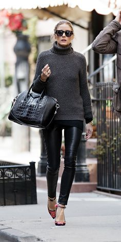 Beyond yoga pants. Black tip to toe wearing leggings, large blose, maxi sweter with turtle-russian neck and pretty purse and glasses... oh and cute shoes.