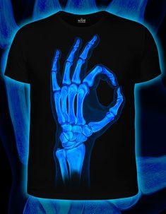 x-ray OK  t-shirt Glow in the dark blacklight swag por RaveDesign