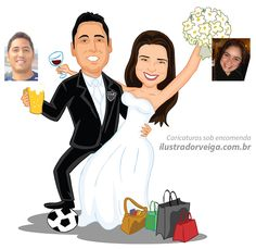 Caricatura de Casal com Drinks - Caricatura sob encomenda online