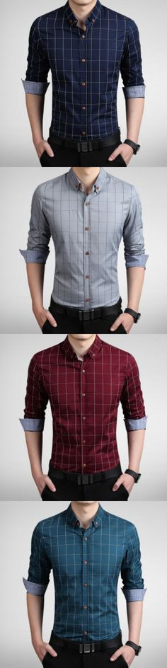 Men's Fashion Plaid Slim Fit Business Long Sleeved Shirt