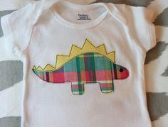 Plaid+Stegosaurus+Applique+Onesie+by+allisonparkerdesigns+on+Etsy,+$15.00