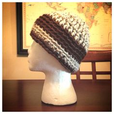Off White Beanie with Brown Band and Stripe on Etsy, $15.00