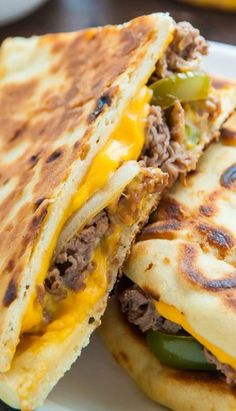 Loaded Philly Cheesesteak Quesadillas - Baker by Nature Mexican Dishes, Mexican Food Recipes, Beef Recipes, Dinner Recipes, Cooking Recipes, Burritos, Enchiladas, Tacos, Tostadas