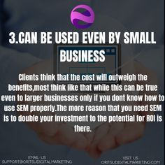 Clients think that the cost will outweigh the benefits,most think like that while this can be true even to larger businesses only if you dont know how to use SEM properly.The more reason that you need SEM is to double your investment to the potential for ROI is there. #sem #semboyan #sempreumile #semle #semsemmoments #semprenamoda #seminte #semesteralmostover #semprealcool #semangart45 #semipermanentmakeup #semipermanentmakeuptoronto #semchefe #semifreeform #seminariodeeducacion… Target Audience, Being Used, Larger, Digital Marketing, Investing, Canning, Business, Store, Home Canning