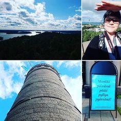 """Der Pyynikki-Turm wurde erklommen! Juhu! Natürlich nicht mit dem Aufzug. Von dort hat man einen luftigen Rundumblick über Tampere und die Seen Näsijärvi und Pyhäjärvi. Ein Munkki zur Belohnung inklusive. Getreu nach dem Motto: """"Ein Munkki am Tag hält den Popo rund!""""  #visittampere #pyynikki #nomnom #thisisfinland #suomi100 #hochhinaus #munkki #ig_finland #landscape"""