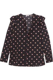 bdac2cb6606 Ella floral-print Swiss-dot cotton and silk-blend blouse Swiss Dot