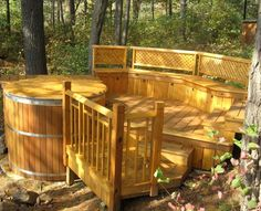 A round cedar hot tub is a natural extension of a cedar deck. Don't just sit on your deck...soak in it!  For more info:  http://www.canhottub.com