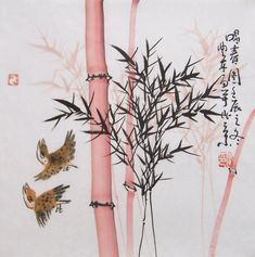 lchinese traditional painting bamboo painting ink painting oriental art chinese art original art -lovely bamboo with  birds No.10
