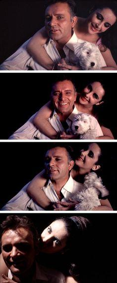 Elizabeth Taylor and Richard Burton photographed in London with their dog Taffy by Douglas Kirkland, 1963.