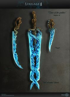 """""""Weapon set Lineage 2 by Urchina on deviantART"""" Great design for an arcane blade. I can see trying to make this as a laminated piece. Anime Weapons, Weapons Guns, Ninja Weapons, Swords And Daggers, Knives And Swords, Prop Design, Game Design, Weapon Concept Art, Larp"""