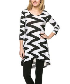 Loving this Black & White Chevron Hi-Low Tunic on #zulily! #zulilyfinds http://www.zulily.com/invite/kripley070