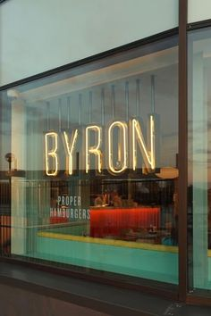 Bold Signage - For our window - Byron burgers - missing my favorite burger place in London! Signage over wallcovering? Shop Signage, Wayfinding Signage, Signage Design, Cafe Design, Store Design, Web Design, Cafe Signage, Window Signage, Store Front Design