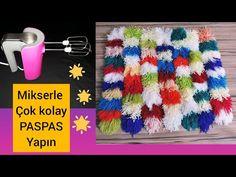 ARTAN İPLERİNİZ İÇİN HARİKA FİKİR - YouTube Craft Tutorials, Diy And Crafts, Crochet Hats, Sewing, Youtube, Pom Poms, Decor, Carpet, Rugs