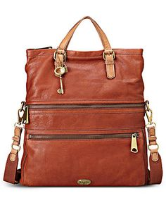 Fossil Handbag, Explorer Leather Tote -- love this bag in the russet brown color