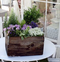 herbs and flowers in a box