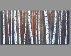 BIRCH FOREST painting abstract birch tree por SageMountainStudio