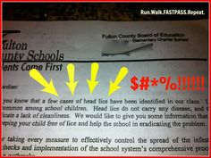 Run.Walk.FASTPASS.Repeat. The Head Lice Letter from School