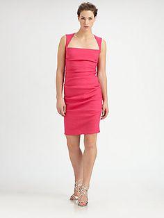 CLASSY!! Nicole Miller Stretch Linen Cutout Dress