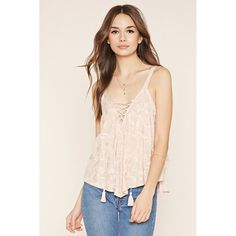 Love 21 Women's  Contemporary Lace-Up Top ($25) ❤ liked on Polyvore featuring tops, laced up top, pink sleeveless top, pink top, layered tops and tassel top