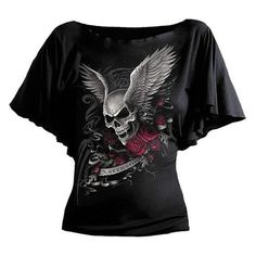 Fashion Short Sleeve Women T-Shirt Batwing Sleeve Skull Print T-Shirt