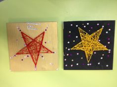 Draadfiguur van kerst. Gemaakt met groep 5. Print een ster uit, zet stipjes en doe dit op een plankje. Daarna het papier ertussen uit en daarna draad spannen.