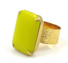 Chartreuse Ring Chartreuse and Gold Ring by TashaHusseyDesigns, $42.00