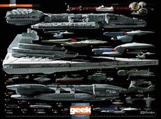 this is a good idea: original...Starship comparison chart Star Wars Star Trek BSG Babylon 5 many more