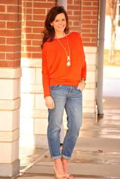 Spring transitional style.  Boyfriend jeans, orange top, wedges and long necklace.  http://getyourprettyon.com/i-feel-pretty-mother-daughter-style/
