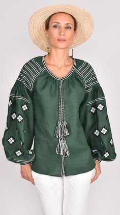 Fanm Mon Origin: Ukraine Name: ENVY Fabric: Italian linen Embroidery: Cotton or Silk Threads Length: 68 cm inches) Size Range: XXS - XXL Custom order: White Embroidered Dress, White Embroidery, Green Fabric, Bomber Jacket, Women Wear, Black And White, Clothes For Women, Blouse, Lace
