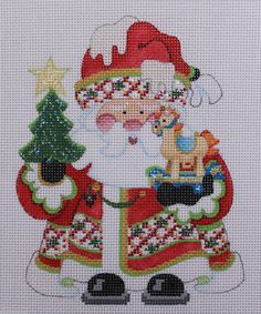 Strictly Christmas Santa Claus with Rocking Horse 23 HP Needlepoint Canvas | eBay