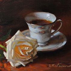 Paintings by Elena Katsyura: Tea and Rose