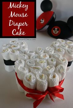 How to make a Mickey Mouse Diaper Cake for Disney themed baby shower or baby sprinkle!