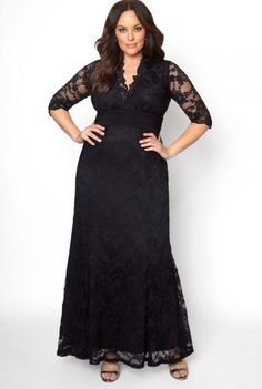 Plus Size Black Lace Long Sleeve Maxi Dress |  Black Lace Plus Size Gown. Designed with all-over stretch, This plus size special occasion black lace dress is the ideal formal pick for any black-tie affair. Available exclusively in women's plus sizes.  #PlusSizeDresses #getthelook #PlusSize #PlusSizeFashion #PlusSizeStyle #CurvyGirl #plussizedivas #boldcurvyfashionista #curvy #curvyfashionista #Fashion #Style