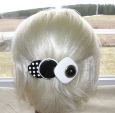 "VTG HAIR CLIP GRIP HEAD PIECE BARRETTE BLACK WHITE PLASTIC 4"" LONG GREAT 30$"