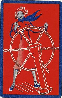 Female sailor vintage playing card