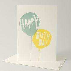 BIRTHDAY BALLOONS - TURQUOISE / SUN YELLOW / Kikisoso Letterpress