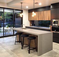 Black Kitchen Decor, Grey Kitchen Designs, Modern Kitchen Design, Home Decor Kitchen, Kitchen Interior, Small U Shaped Kitchens, Fancy Kitchens, Luxury Kitchens, Home Kitchens