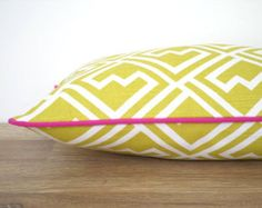 Check out Green pillow cover 20x12 dorm room decor, trellis bolster pillow case, green and pink sofa cushion, geometric cushion for window seat on anitascasa